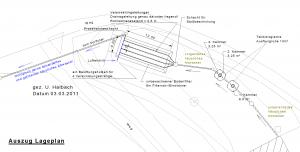 Lageplan zur Errichtung eines Filterbeetes zur vollbiologischen Behandlung des Abwassers von 8 Einwohnern nach DIN 4261-1